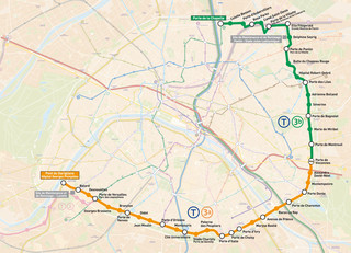 Map of Paris tram network