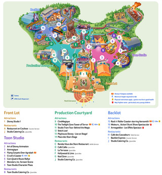 Map of Walt Disney Studios park of Paris
