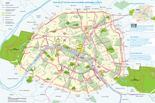 Cycle routes, cycle paths, cycle lanes of Paris